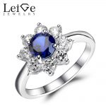 Leige <b>Jewelry</b> Sapphire Ring Round Cut Blue Gemstone Engagement Wedding Rings for Women Sterling <b>Silver</b> 925 Fine <b>Jewelry</b> Flower