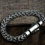 FNJ Weaving Rope Bracelet 925 <b>Silver</b> Width 7.5mm Length 19cm to 21cm Wire Chain Original S925 <b>Silver</b> Bracelets for Men <b>Jewelry</b>