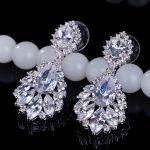Brand <b>Jewelry</b> Flower Shape Lady's 925 Sterling silver Claw set White stone 5A Zircon stone <b>Wedding</b> Dangle Earrings Gift E11