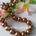 Charming 14mm brown shell simulated-pearl round beads classcial women high grade chains necklace <b>jewelry</b> <b>making</b> 18inch MY3320