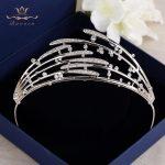 Brides Royal Sparkling Zircons Tiaras Crown <b>Silver</b> Wedding Hairbands Plated Crystal Wedding Hair Accessories Prom <b>Jewelry</b>