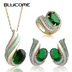Blucome Valentine's Gift Dubai <b>Jewelry</b> Sets Green Enamel Thread Pendant <b>Necklace</b> Earrings Ring Set Pingente Max Brincos Bijoux