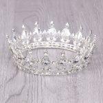 Gold/Silver Baroque Round Crysta Bride tiara For Queen <b>Wedding</b> Crown Hair <b>Jewelry</b> Bride <b>Wedding</b> Hair Accessories Free