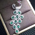 natural green emerald gem pendant S925 <b>silver</b> Natural gemstone Pendant <b>Necklace</b> trendy Personality peacock lady party jewelry