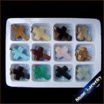 Wholesale 12 pcs 18x25x5 mm Mix Cross Necklace Pendants Natural Stone Beads in Box Specimens Crucifix fit <b>Jewelry</b> <b>Making</b> -HSY03