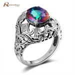 Elegant Vintage Rainbow Fire Mystic Topaz Crystal <b>Handmade</b> Ring For Women Pure 925 Sterling Silver Fine <b>Jewelry</b> Lady Finger Ring