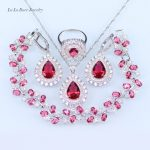 L&B Romantic Water Drop Rose Red Cubic Zirconia Sets Hoop Earrings/<b>Bracelet</b>/Pendant/Necklace/Ring <b>Silver</b> Plated Jewelry Sets