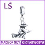LS Elegant Antique Halloween Witch Bead Charms 925 Sterling Silver <b>Jewelry</b> Accessries For Bracelet Necklace <b>Making</b>