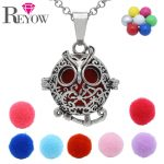 <b>Antique</b> Silver Aromatherapy <b>Jewelry</b> Hollow Floral Owl Locket Chime Ball Pendant Necklace Essential Oil Diffuser DIY