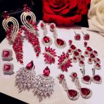 Luxury Rose Red stone Long Drop Earrings Water Drop and Flower Shape Hot pink Cubic Zirconia women Party Wedding <b>Jewelry</b> Gift