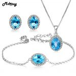 MoBuy 4pcs Natural Gemstone Oval Blue Topaz 3pcs Jewelry Sets 100% 925 Sterling <b>Silver</b> For Women Gift Fine Jewelry V039EHN