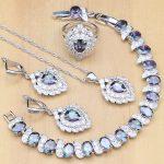 Strawberry <b>Silver</b> 925 Jewelry Mystic Rainbow Zircon Jewelry Set Decorations For Women Earrings/Pendant/Ring/<b>Bracelet</b>/Necklace