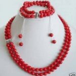 Women's Wedding Charming 2Rows Genuine Red Coral Beads Necklace Set Fashion shipping real silver <b>jewelry</b> silver-<b>jewelry</b>