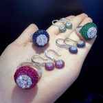 <b>jewelry</b> set ring and earring 925 <b>sterling</b> <b>silver</b> with cubic zircon fashion women <b>jewelry</b> blue green rose red color