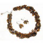 New Arriver Genuine Natural Tigers Eye & Freshwater Pearl Necklace <b>Earrings</b> Jewelry Set 6-20mm 925 <b>Silver</b> <b>Earring</b> Free Shipping