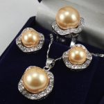 Women's Wedding Set 10mm &14mm Yellow South sea Shell Pearl Earrings Necklace Ring size 7 8 9 5.23 5.23 real silver-<b>jewelry</b>