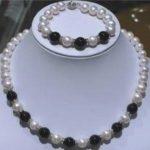 Women's Wedding fast7-8MM White Pearl And Black stone Neckalce Bracelet Set AAAFFF silver-<b>jewelry</b> moda real silver-<b>jewelry</b>