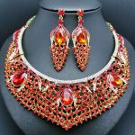 luxurious wedding <b>jewelry</b> Full Rhinestones Crystal Large <b>Necklace</b> and Earrings Statement African Bridal Party <b>Jewelry</b> Sets
