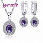 Jemmin Luxury Women Bridal <b>Jewelry</b> Set For Wedding Engagement Accessory Purple Austrian Crystal Statement Necklace Earring Set