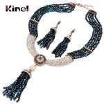 Kinel Natural Stone <b>Jewelry</b> Sets Luxury Tassel Necklace And Earring For Women Antique Gold White Crystal Vintage Wedding <b>Jewelry</b>