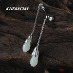 KJJEAXCMY S925 handmade sterling <b>silver</b> jewelry fashion lady jade orchid Hetian Jade <b>Earrings</b>