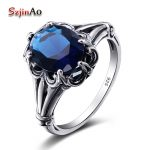 Szjinao Hot Sale Anillos De Plata Charm Ring Skyrim Real Solid 925 Sterling <b>Silver</b> <b>Jewelry</b> Vintage Sapphrie Rings For Women