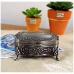 <b>Antique</b> Carved Elegant Crate Drops Princess <b>Jewelry</b> Box Retro Metal Decor Storage Collection Boxes European-style Bronze Case