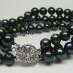 3 ROWS 7-8MM Black Akoya Cultured Pearl Bracelet 7.5″ beads Fashion <b>Jewelry</b> <b>Making</b> Design Natural stone YE2087 Wholesale Price