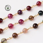 <b>Handmade</b> Natural Agatestone stone Beaded Chains, wtih Brass Findings, Golden, MediumVioletRed, 16x6mm; about 10m/roll