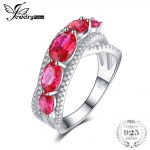 JewelryPalace 3.2ct Oval Created Red Ruby Cross-Over Wedding Ring 925 Sterling <b>Silver</b> Fine <b>Jewelry</b> For Women New Arrival