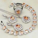 Trendy Orange White Cubic Zirconia 925 <b>Silver</b> Jewelry Sets For Women Wedding Earring/Pendant/Necklace/<b>Bracelet</b>/Ring 4PCS