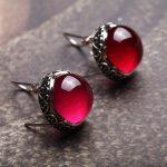 925 Sterling <b>Silver</b> retro red corundum ear clip round <b>EARRINGS</b>