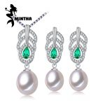 MINTHA Pearl Jewelry Sets,Pearl Pendant Necklace <b>Earrings</b> For Women,Leaves Emerald leaf big <b>earrings</b> set fine jewelry with box