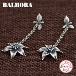 BALMORA Authentic 925 Sterling Silver Retro Flower Dangle Drop Earrings for Women Lover Gift Thai Silver <b>Jewelry</b> Brincos SY31456
