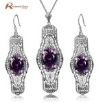 Genuine 925 Sterling <b>Silver</b> Jewelry Set Classic Vintage <b>Earring</b> Pendants Purple CZ Crystal Jewelry Sets For Women Party Gifts