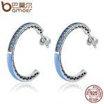 BAMOER 100% 925 Sterling Silver Radiant Hearts Light Blue Enamel & Dazzling CZ Hoop Earrings for Women <b>Jewelry</b> Bijoux SCE210