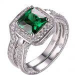 Newshe 1.33 Ct Princess Cut Green Zirconia 925 Sterling Silver <b>Wedding</b> Ring Set Engagement Band Fashion <b>Jewelry</b> For Women