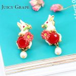 Alice Series <b>Handmade</b> Enamel Small Rabbit Bunny Pearl Beaded Gold Earring For Women Fashion <b>Jewelry</b> Surgical Types Of earrings