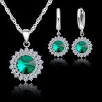 Jemmin Exquisite 925 <b>Sterling</b> <b>Silver</b> Crystal Necklaces Earrings Set Women Fine Bridal Wedding <b>Jewelry</b> Sets Accessory 3Colors