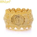 Ethlyn <b>Jewelry</b> Dubai Style <b>Jewelry</b> Napoleon Coin Big Bangle For Women Gold Color Bangles African/India//Middle East Items B068