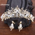 TUANMING Gold white Crystal wedding Tiaras earrings set Bride Crown set party hair Accessory hairwear Tiaras set wedding <b>Jewelry</b>