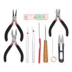 12 Pcs/Set <b>Jewelry</b> <b>Making</b> Tool Bead Needle Pliers Scissor Tweezer Craft Kit Hand