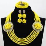 <b>Handmade</b>! Splendid 5 Rows Mustard Yellow Crystal Bridal Indian <b>Jewelry</b> Set Chunky Necklace Sets for Women Free Shipping HX836