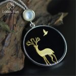 Lotus Fun Real 925 Sterling <b>Silver</b> Natural Agate Handmade Fine Jewelry Deer and Bird Design Pendant without <b>Necklace</b> for Women