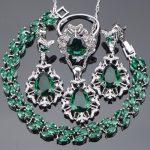 <b>Silver</b> 925 Costume Bridal Jewelry Sets Women Wedding Jewelry With Green Zirconia <b>Bracelet</b> Necklaces & Pendant Rings Earrings Set