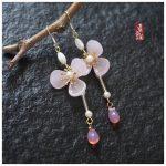 Taohuawu Matching Earrings <b>Handmade</b> original <b>jewelry</b> 925 Tremella sweet gift the Qixi Festival bestie hook