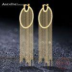 ANFASNI New Arrival 925 <b>Sterling</b> <b>Silver</b> Luxury Tassel Earrings Gold Color Brilliant Cut Cubic Zirconia Long Brincos <b>Jewelry</b>