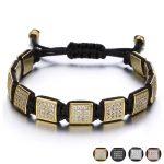 Brand Bling Rhinestone CZ Stone Square Rivet Braiding Black Rope Men Bracelet Fashion <b>Jewelry</b> Male Bracelets Hand <b>Accessories</b>