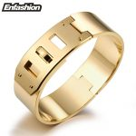 Enfashion <b>Jewelry</b> Punk Wide Belt Buckle Cuff Bracelet Gold color Stainless Steel Bangles Bracelets For Women bracelet Pulseiras