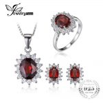 JewelryPalace Garnet Ring Pendant Earring and a Gift Chain Diana <b>Jewelry</b> Set Pure 925 <b>Sterling</b> <b>Silver</b> Crystal <b>Jewelry</b> for Women